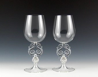 Lyre Wine Goblets, Clear hand blown glass