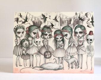 Memento Mori - Limited Edition signed 8x10 pop surrealism Fine Art Print by Mab Graves - Dia de los Muertos Calaveras