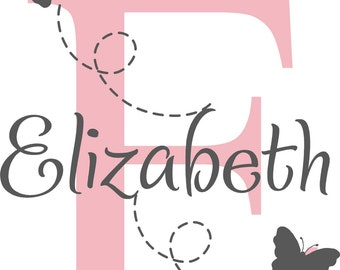 Initial Monogram Name Personalized Butterflies Baby Nursery Teen Girl Vinyl Wall Lettering Words Quotes Decals Art Custom
