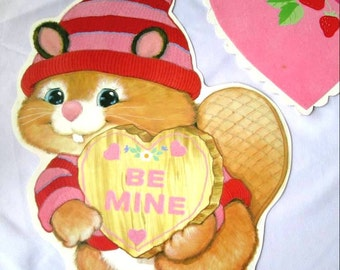 Vintage Valentine Decorations Eureka Diecut Flocked Heart Animals Be Mine