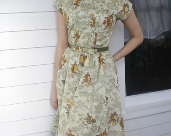 Floral Scenic Print Vintage 50s Dress 1950s Day Summer S