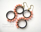 Pink Coral Black Agate Earrings, Wire Wrapped, Art Deco Design, 839