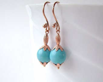 Turquoise Earrings, Copper, Robins Egg, Chalk Turquoise, Sky Blue, 644