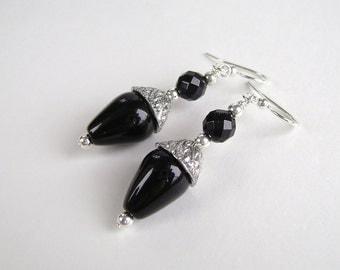 Onyx Earrings, Gemstone Jewelry, Black Agate, Silver, Pewter, Black Earrings, Art Deco, 657