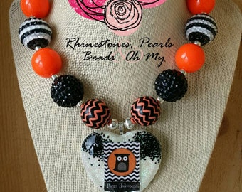 Chunky Halloween Necklace, Owl Necklace, Halloween Costume, Halloween Necklace, Gifts for kid's