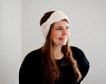 White headband hand knit turban headband soft knitted headband
