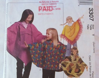 McCalls 3307 (2001)-- Children's PONCHO & Pull-on  PANTS (size extra small, small-- xs/s-- 3-4)