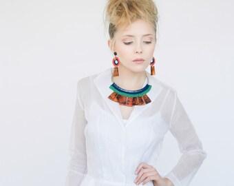 Amber Statement Necklace Vintage Collar Crochet jewelry