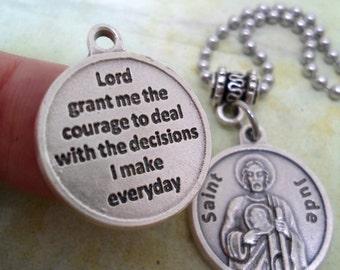 St. Jude Necklace, Holy Medal with Prayer, Baptism Gift, Catholic Jewelry