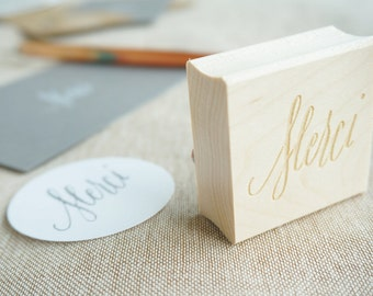 Merci Hand-Drawn Calligraphy Rubber Stamp