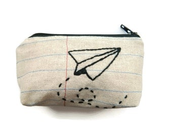 Credit Card Case - Paper Airplane - Notebook Paper Fabric - Repurposed Denim Jeans - Coin Purse - Flying to the Right - Handmade in NJ