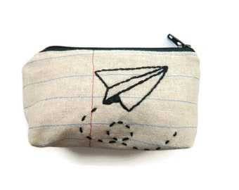 Credit Card Case - Paper Airplane - Notebook Paper Fabric - Repurposed Denim Jeans - Handmade - Flying to the Right
