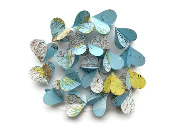 Map Heart Garland - Repurposed Vintage National Geographic Atlas - Going Away Party Decoration - Wedding Decoration - Earth Day Decoration