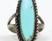 Vintage Sterling Silver Oval Turquoise Ring - Size 5