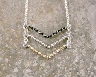 Black Silver Gold Triple Chevron Necklace in Silver