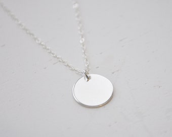 Silver Disc Necklace - sterling silver round circle dot charm 1/2 in pendant delicate modern classic simple & sweet everyday jewelry