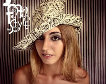 Witch Hat,White,Wicca,Magician,Pixie,Halloween,Magic,Elf,Fantasy,Steampunk,Fairy,Burlesque,Vaudeville,Victorian,Gothic,Costume.Fafastyle