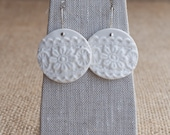 Porcelain Earrings, Wedding Jewelry Vintage Lace Porcelain by Mrs Peterson Pottery