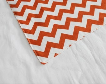 Dark Orange Chevron Waterproof Changing Pad - small