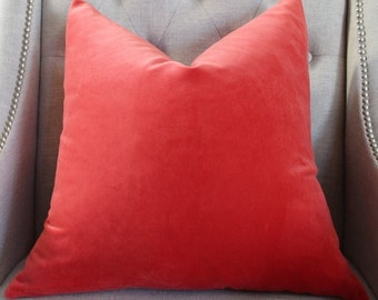 "SALE - Decorative Designer pillow cover - 20""X20"" - Kravet cotton velvet in tangerine"