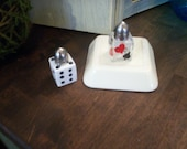 Feeling Lucky?  Dice and Cards, Gambling, Casino Salt and Pepper Shakers Salt & Pepper Shakers Hand Painted Glass by Lisa Hayward