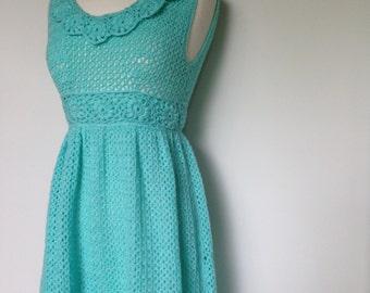 Unique Handmade Beautiful Light Blue Crochet Vintage 60s Maxi Dress / Boho Style / Hippie / Flower Power