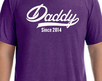 Fathers Day Gift DADDY Since ( ANY YEAR) Mens T shirt Husband Gift Valentines Gift New Dad Newborn Shirt Personalized