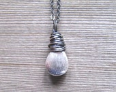 Brushed Silver Necklace, Sterling Silver Tear Drop, Modern Minimalist Jewelry, Layering Necklace, Brushed Bead Pendant