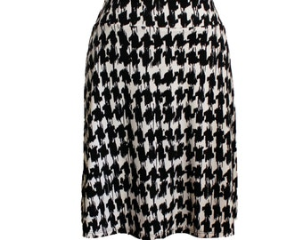 "Black and Cream Houndstooth Print A-line Skirt, Travel Skirt, Abstract ""Houndstooth"" Skirt"