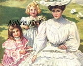 1905 Fashion Mother and Daughters Reproduction Art, Downloadable, Printable, Digital Art Image.Instant Download