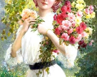Lady in White with Flower Bouquet Downloadable Printable Digital Art Image