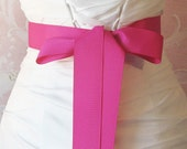 Hot Pink Grosgrain Ribbon, 1.5 Inch Wide Magenta Bridal Sash, Fushia Grosgrain Wedding Belt, Azalea, 4 Yards