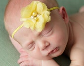 Infant Yellow Flower Headband, Newborn Flower Headband Hair Bow Headband, Newborn Headband, Rosette Flower  Baby Headband,Thin Baby headband