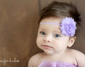 Lavender Shabby Chic Flower Headband Infant Flower Headband newborn headband toddler Photo Prop/ Birthdays / Baby Shower