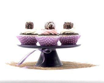 Wooden Purple Cake Stand / 8 3/4 inches Pedestal Cake stand/ Cupcake stand / Pedestal Dessert Plate