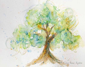watercolor Spring Green Tree of Love - watercolour 8x10 giclee print - soft romantic tree - can personalize