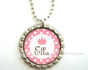 personalized gifts for girls - Personalized necklace, bottle cap necklace - princess crown in pink polka dots