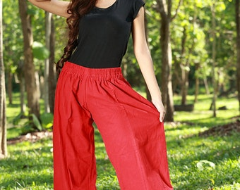 100 percent natural cotton ruffle tiers pants for Women inHot RED tone SALE