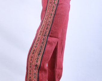 100 percent hand woven Natural hemp pants  Red NEW