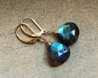 Rainbow Labradorite Earrings.  Petite Gold leverbacks