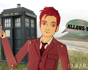 Doctor Who The 10th Doctor David Tennant tribute fan art paper doll assembled articulated
