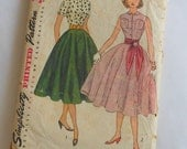 For Vintage Sewing Enthusiasts, 1950s or 60s Simplicity Junior Miss or Misses Sewing Pattern for Full Circle Skirt and Fitted Blouse