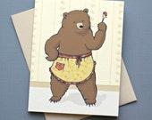 Bear with Jam Notecard