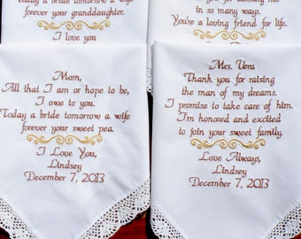 Wedding handkerchief Set of 4 Personalized Embroidered Wedding Hankerchiefs - Your Personal Saying and Wedding Colors  by Canyon Embroidery