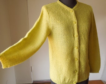 SALE...Vintage 60s Green Cardigan Sweater, Textured Knit Boucle, Chartreuse Pea Green, Small, Bust 36