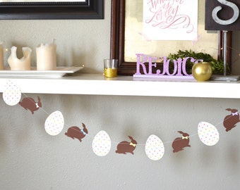 Chocolate Easter Bunny Banner, custom colors available