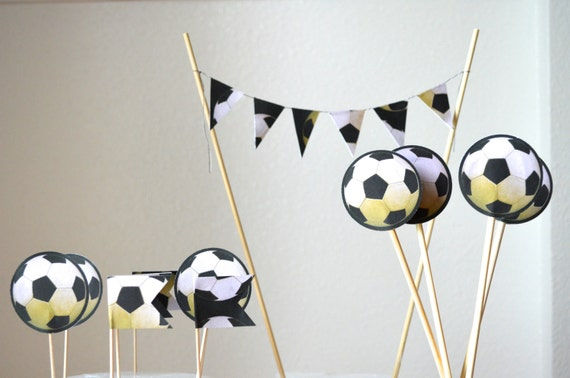 Soccer Themed Cake Toppers, world cup dessert decorations