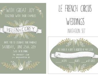 SALE Banners and Foliage Wedding Invitation set rsvp