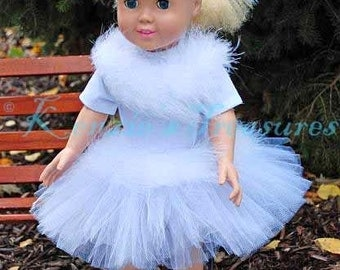 """3-Piece Swan Lake Tutu Outfit for 18"""" and 15"""" Dolls - Fits American Girl Dolls and My Generation Dolls"""