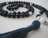 RESERVED FOR CAT - Mala - Hand Knotted Dumortierite, White Howlite and Mother of Pearl Meditation Mala, 108 Beads